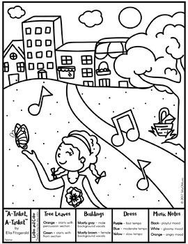 "Ella Fitzgerald ""A-Tisket, A-Tasket"" Coloring Page & Listening Glyph"