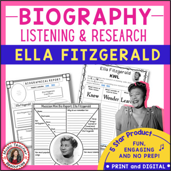 Ella Fitzgerald Biography Research and Music Listening Activities