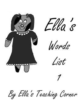 Ella's Word List 1 Grayscale Flashcards