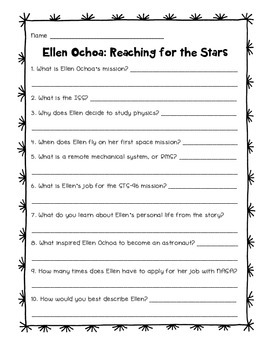 Ellen Ochoa: Reaching for the Stars Comprehension Questions