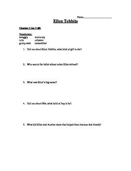 Ellen Tebbits Reading Comprehension Questions