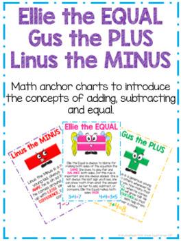 Ellie the EQUAL, Gus the PLUS, Linus the MINUS - Math Anchor Charts