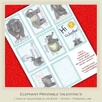 Ellie the Elephant Printable Valentine's
