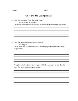 Elliot and the Drainpipe Kids Written Response