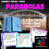 Parabolas - Conic Sections Task Cards HW and Foldable    Distance Learning