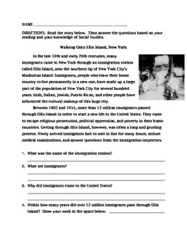 Ellis Island reading with comprehension questions