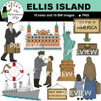 Ellis Island American Immigration Clip Art