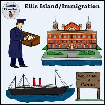 Ellis Island Immigration Clip Art by Dandy Doodles