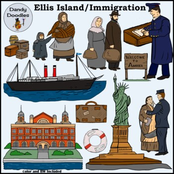 Ellis Island Immigration Clip Art by Dandy Doodles by ...
