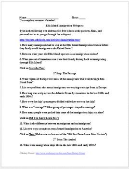 Ellis Island Immigration Webquest