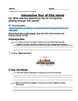 Ellis Island Interactive Webquest Research Writing Project