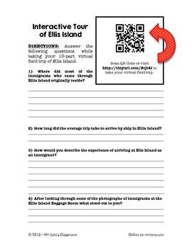 Ellis Island Virtual Field Trip Webquest - QR Code Enabled