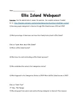 Ellis Island Webquest