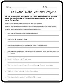 Ellis Island Webquest and Project