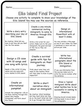 Ellis Island Webquest and Project