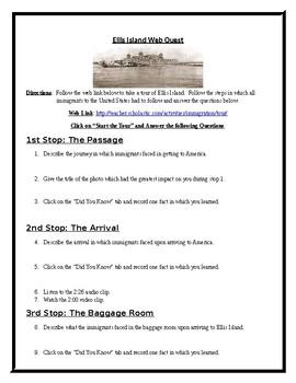 Ellis Island and Immigration Web Quest