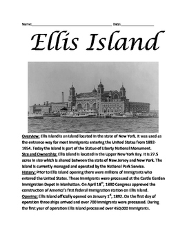 Ellis Island - history lesson immigration review article questions vocabulary