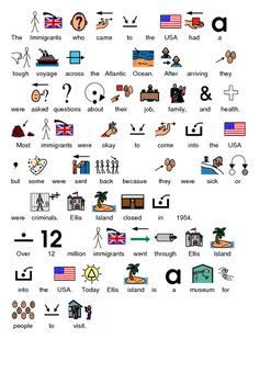 Ellis Island - picture supported text lesson review questions PDF