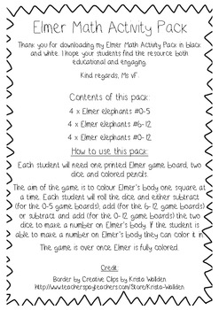 Elmer Math Activity Pack {Black and White}