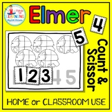 Elmer the Elephant Count and Scissor - Math Center for Early Learners