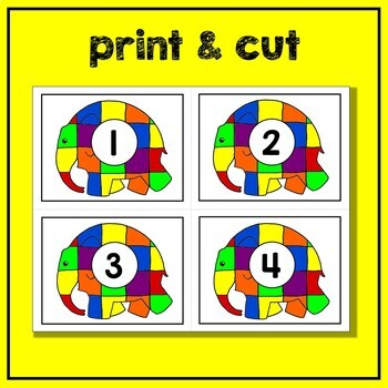 Elmer the Elephant Counting Cards - Math Center for Early Learners
