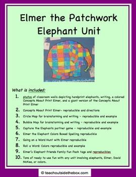 Elmer the Patchwork Elephant Unit - Friends and Elephants Printables