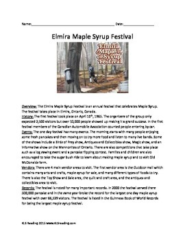 Elmira Maple Syrup Festival - Review Article Questions Vocabulary Facts Info