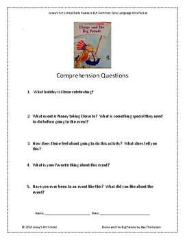 Eloise and the Big Parade Reading Packet Early Readers Pre K 1st Comprehension