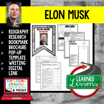 Elon Musk Biography Research, Bookmark Brochure, Pop-Up, Writing, Google