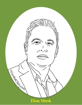 Elon Musk Clip Art, Coloring Page, or Mini-Poster