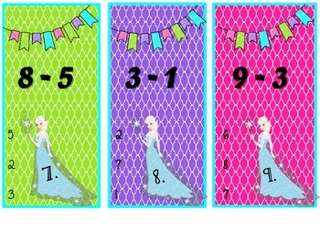 Elsa's Subtraction Task Cards