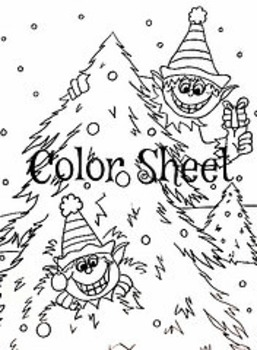 Christmas Winter Holiday Elves Color Sheet