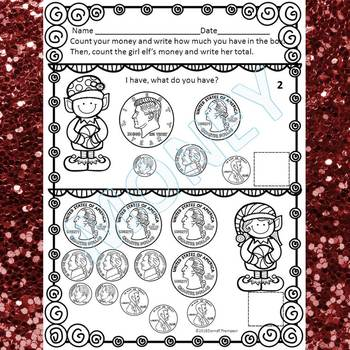 """Christmas Elves """"Counting Money"""" (Money Worksheets)"""