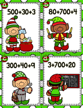 Elves Expanded Form Second Grade Math Write the Room Game Christmas FREEBIE