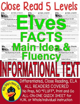 Elves, FACTS Close Read 5 levels Informational Text Main i