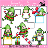 Borders - Christmas Clip Art - Elves Holding Frames  - Commercial Use