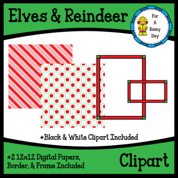 Elves & Reindeer Clipart Kit (clipart, digital papers, border, & frame)