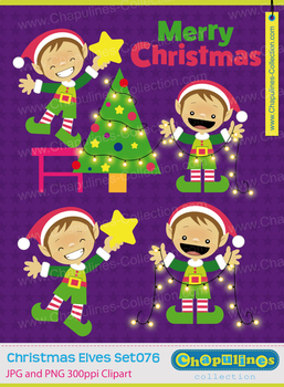 Elves and Christmas tree Clipart, Christmas Clipart, Santa's Elves, Set 076