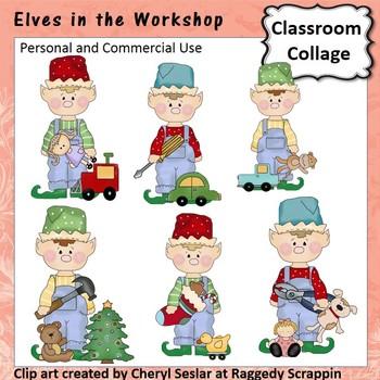 Elves in the Workshop Clip Art