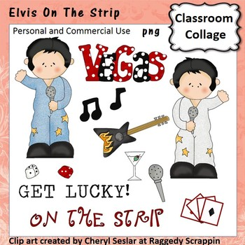 Elvis - Color - pers & comm Vegas dice guitar playing cards microphone