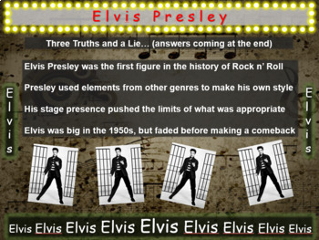 Elvis Presley: 25 slides with text, hyperlinks & primary sources (with handouts)
