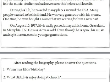 Elvis Presley Biography Reading and Answer WS