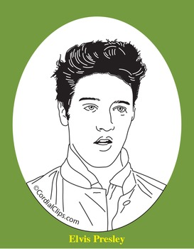 Elvis Presley Clip Art, Coloring Page, or Mini-Poster by Cordial Clips