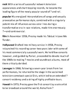Elvis Presley Crossword