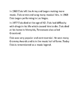 Elvis Presley - history facts review worksheet with review questions