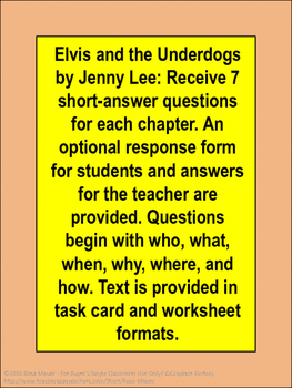 Elvis and the Underdogs Book Unit