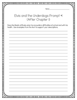 Elvis and the Underdogs by Jenny Lee:  34 Writing Prompts