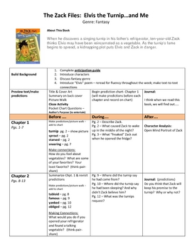 Elvis the Turnip and Me by Dan Greenburg - Activity Packet