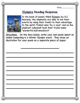 Elympics Reading Response Activities--Olympic Poetry--2018 Winter Olympics