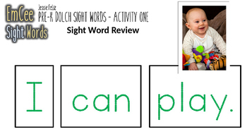 EmCee Sight Words Pre-K Activity One (PowerPoint, Music, Student Worksheets)